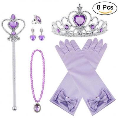 Vicloon 8pcs Princesse Dress Up Accessoires Filles Diadème Varita Magie Collier Boucles doreilles Anneau Gants pour Cosplay Noël Carnaval Fête danniversaire