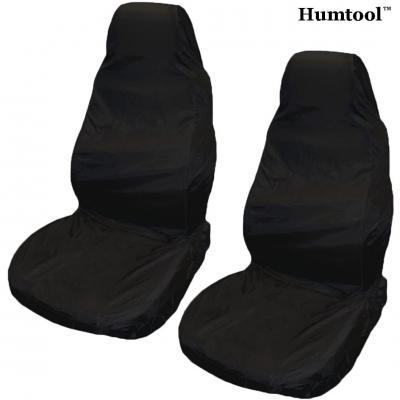 Humtool 2 x Housses de Siège pour Voiture Ultra Léger Imperméable Protection Auto Amovible Universel Protecteur Avant Housse de Siège Noir Nylon Imperméable Anti-Huile