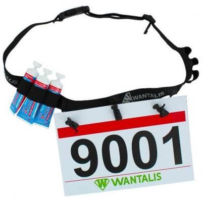 Wantalis Ceinture Porte-dossard Homologuée 3 Points de Fixation et 6 Porte-gels pour Marathon