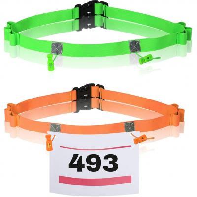 TAZEMAT Porte-Dossard pour Marathon Triathlon Lot de 2 Ceintures Elastique pour Numéro de Participant de Course Cyclisme Porte Dossard Réglable Orange Vert Fluorescent avec Porte-Gel Unisex