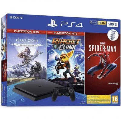 Pack PS4 500 Go noire + Marvels Spiderman + Horizon Zero Dawn Hits Complete Edition + Ratchet
